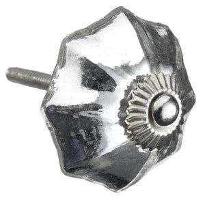 Glass Flower Knob Silver