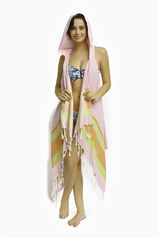 Pink Coast Hooded Cape Cover up