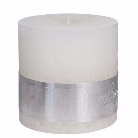 Rustic Hot White Block Candle 10x10cm