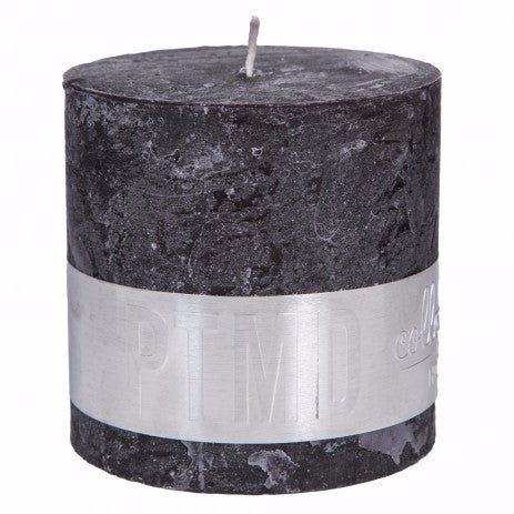 Rustic Charcoal Black Block Candle 10x10cm