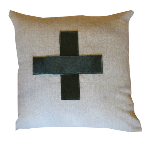 Khaki Cross Hide Trim Cushion