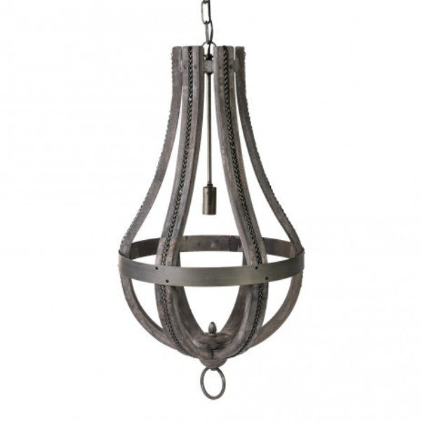 Denver Grey Lamp Drop Iron and Wood  42.00 X 42.00 X 79.00 cm.