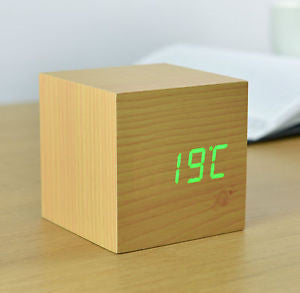 Beech Cube Click Clock With Green LED