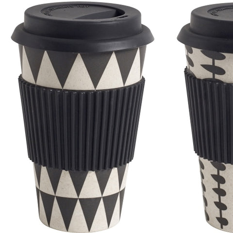 Bamboo Mug to Go Black Geometric