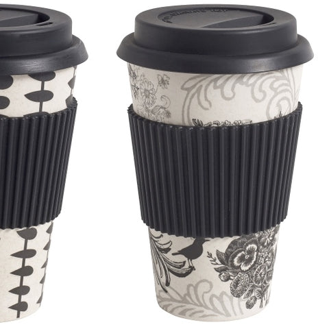 Bamboo Mug to Go Black Floral
