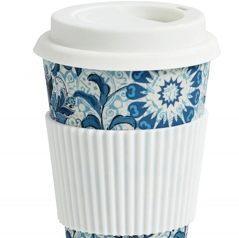 Bamboo Mug to Go Blue Flower
