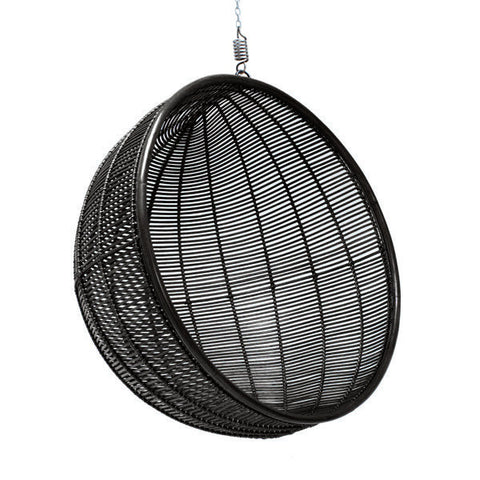 Black Rattan Hanging Bowl Chair