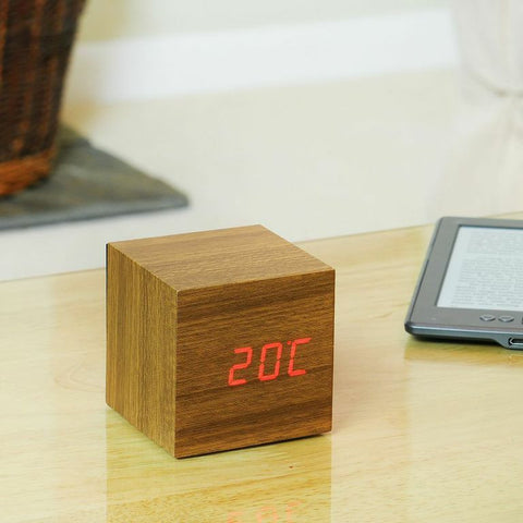 Cube Teak Click Clock With Red LED