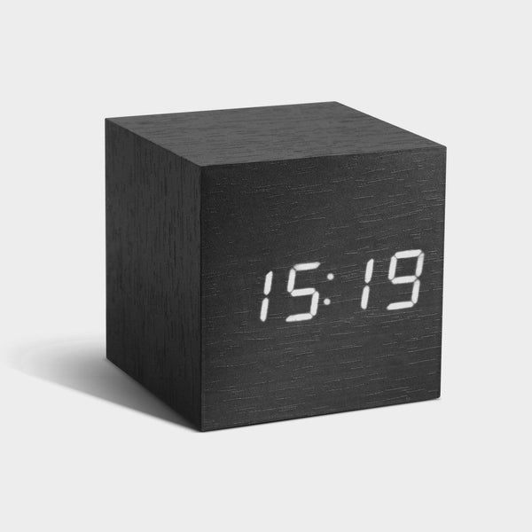 Black Cube Click Clock With White LED