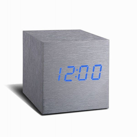 Aluminium Cube Click Clock With Blue LED
