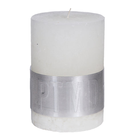 Rustic Hot White Pillar Candle 10x7cm