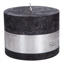 Rustic Charcoal Black Block Candle 12x9cm