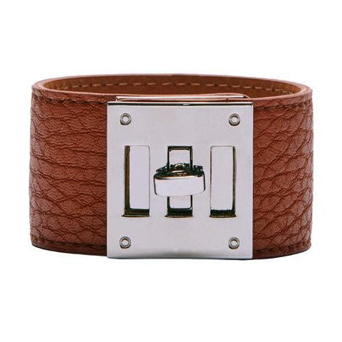 Brown Leather Look Cuff with Silver Clasp