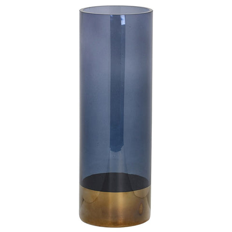 Large Grey Glass Gold Top Vase