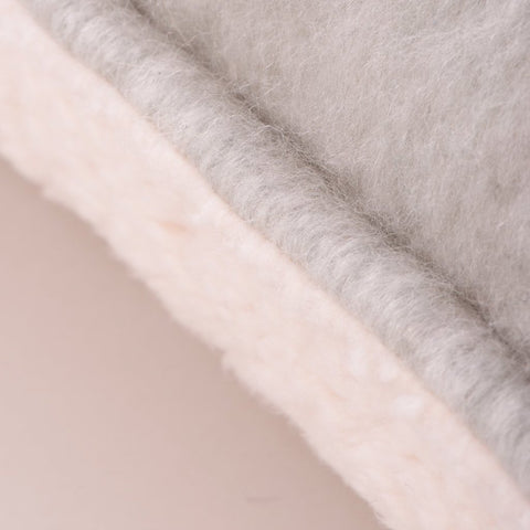 Sherpa Fleece-Backed Cushion Light Grey