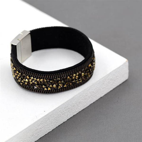 Vintage Dark Gold Crystal Cuff