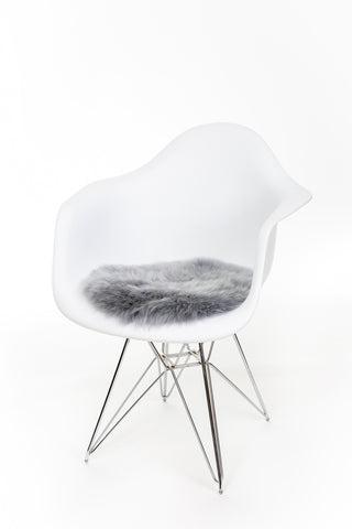 Silky Sheepskin Circular Seat Pad in Platinum Grey