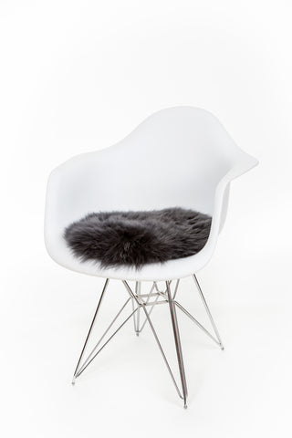 Silky Sheepskin Circular Seat Pad in Steel Grey