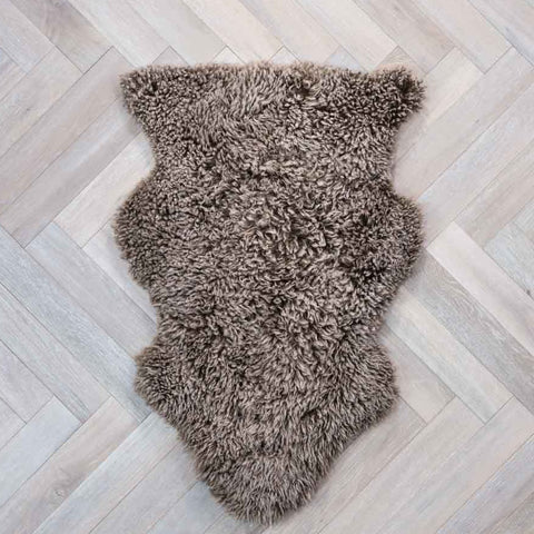 Curly Sheepskin Rug Dark Beige