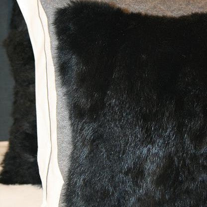 Large Faux Fur Black Cushion 70x70cm