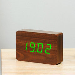 Brick Walnut Click Clock W/Green LED