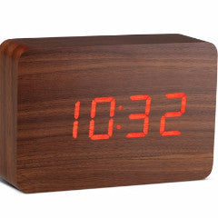 Brick Walnut Click Clock W/Red LED