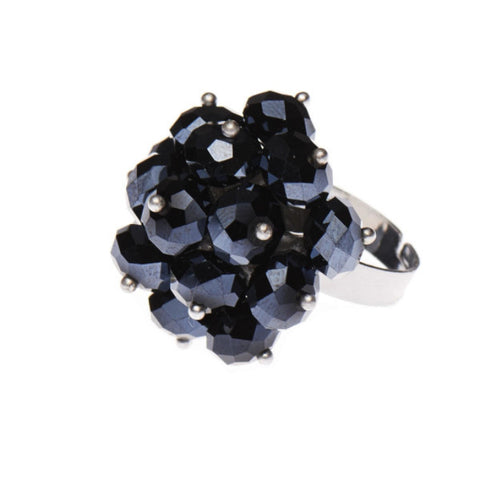 Black Cluster Crystal Ring