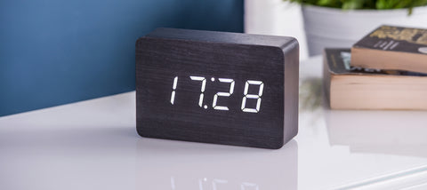 Brick Black Click Clock White LED