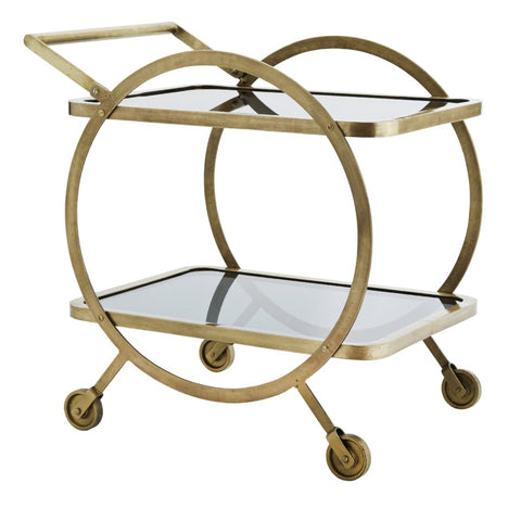 Black Glass & Brass 2 Tier Tea Trolley