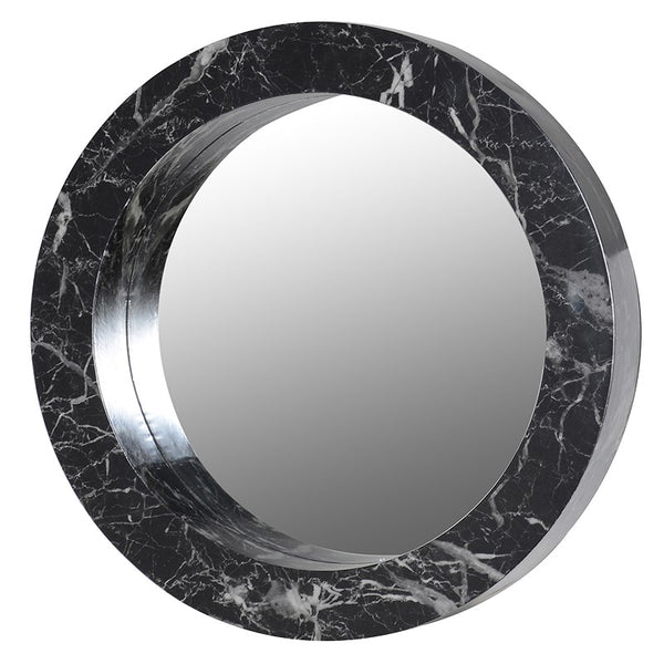 Black Marble Effect Round Wall Mirror