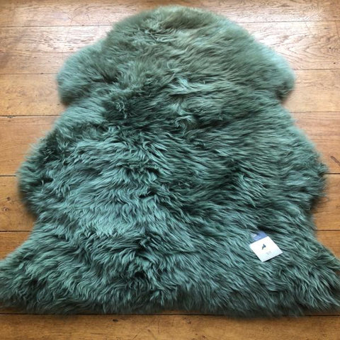 Forest Green Silky Sheepskin  Dimensions 100 cm+