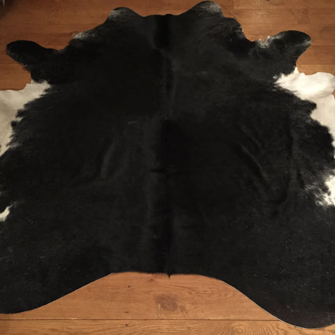 South American Large Black and White Cowhide  Dimensions approx 203 cm L x 208 cm W