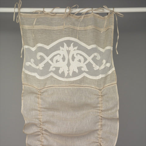 Push Up Linen Curtain with Ecru Embroidery Top