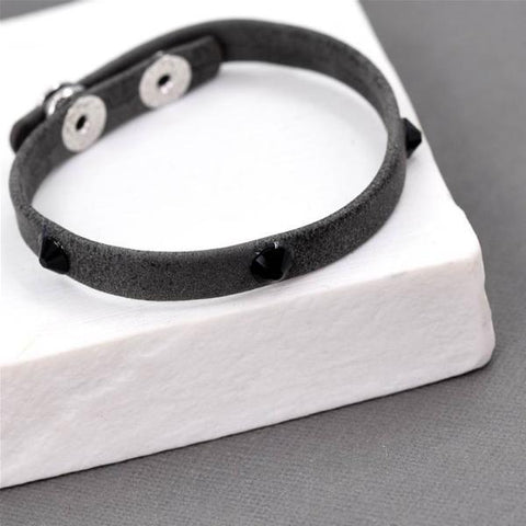 Crystal Studded Leather Look Bracelet - Dark Grey