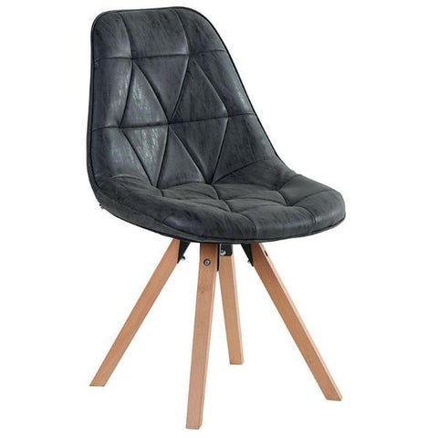 Black Faux Leather Padded Chair With Beech Legs  Dimensions: W: 53cm x H: 83cm x D: 59cm