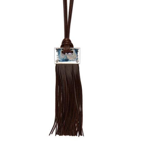 Long Brown Leather Look Necklace with Silver Block Dimensions: L: 81cm + 5cm extender