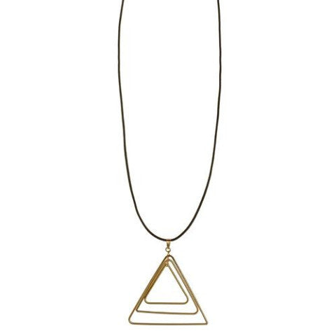 Long Grey Necklace with Gold Triangles