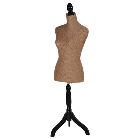 Beige Mannequin,on Black Tripod Wood Stand.  Dimensions: H: 1320mm