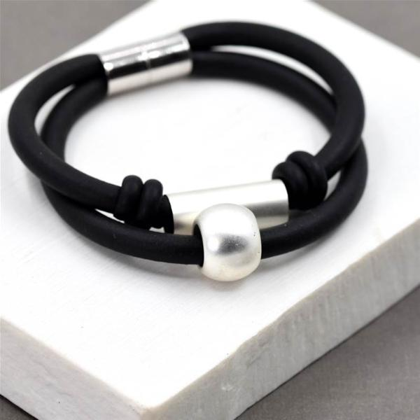 Double Strand Magnetic Bracelet with Silver Circle and Tube