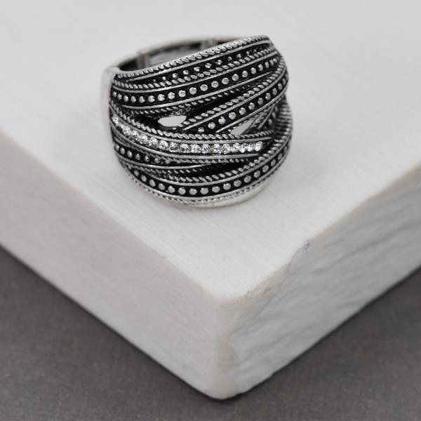 Criss Cross Stretchy Ring with Crystals