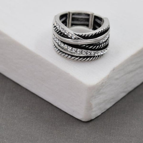 Criss Cross Silver Stretchy Ring with Crystals