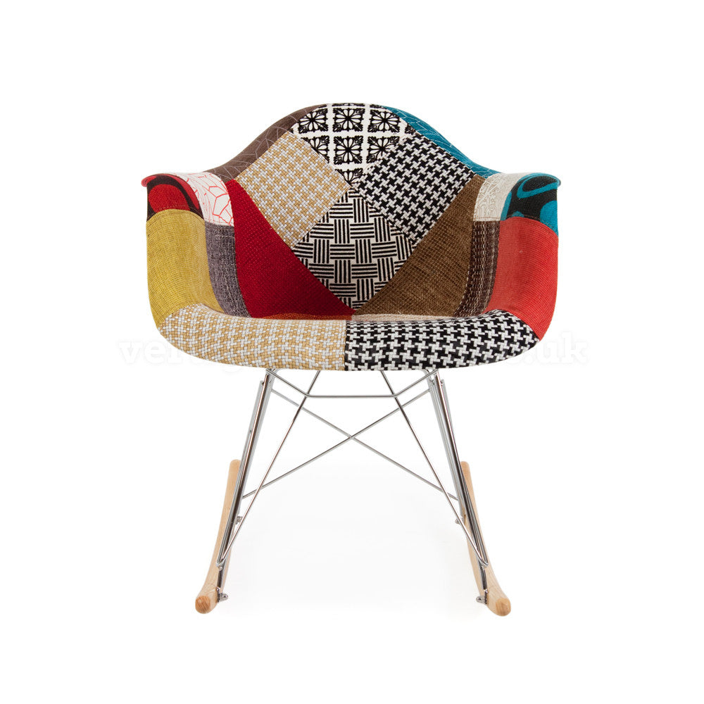 patchwork upholstered eames inspired rar rocking chair. Black Bedroom Furniture Sets. Home Design Ideas