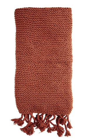 Rust Pure Cotton Tassel Throw