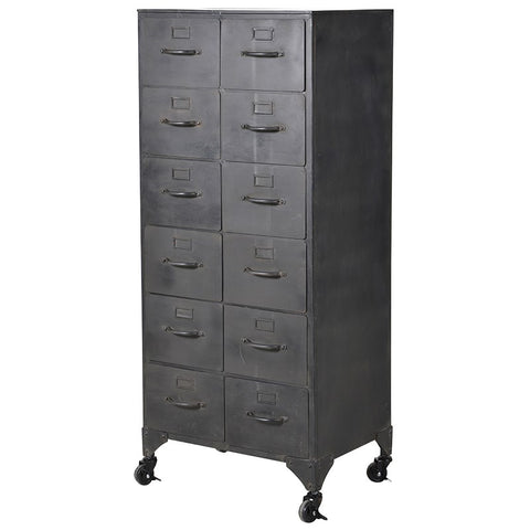 12 Drawer Iron Storage Cabinet H: 116cm, W: 50cm, D: 38cm.