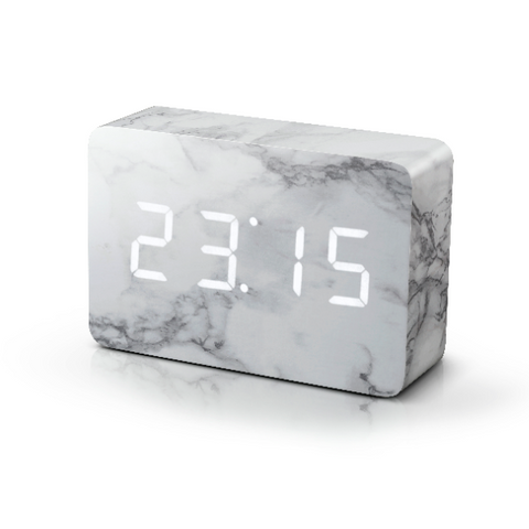 Brick Marble Click Clock White LED