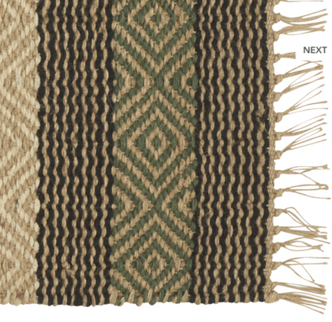 Green and Brown Patterned Jute Rug 140 x 200 cm