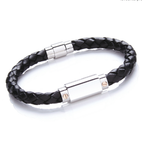 Plaited Bracelet With Stainless Steel Clasp
