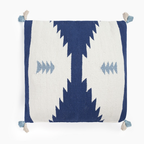 Aztec Design Blue & White Dhurrie Cotton Cushion
