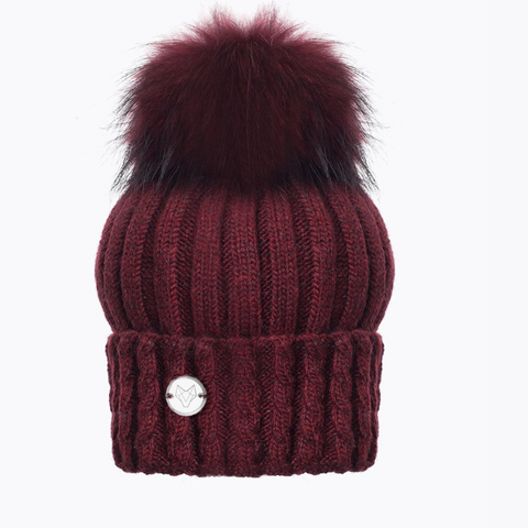 Berry Cable Rib Pom Pom Hat