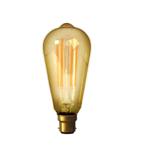 Filament B22 LED Rustic Shaped Bulb Gold (Dimmable)